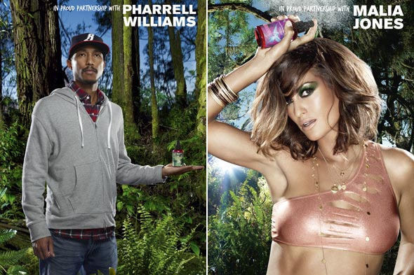 Kiehl's Earth Day Shots Campaign Pharrell Williams & Malia Jones