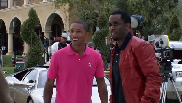 Pharrell & Diddy On The Set Of Get Him To The Greek